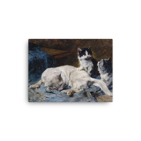 Julius Adam: Katzenmutter mit Zwei Katzchen, 1913, Canvas Cat Art Print, 12×16