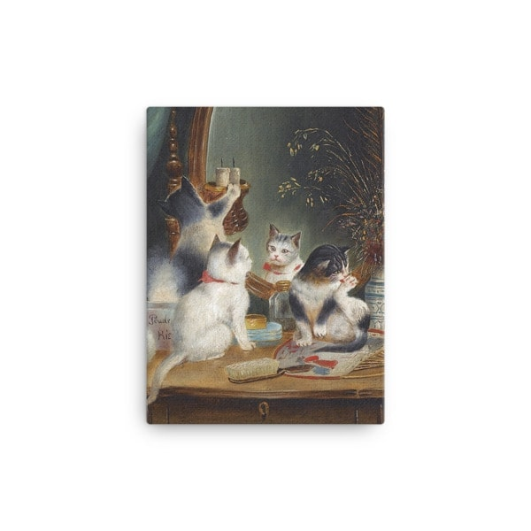 Carl Reichert: Kittens in the Boudoir, Before 1918, Canvas Cat Art Print, 12×16