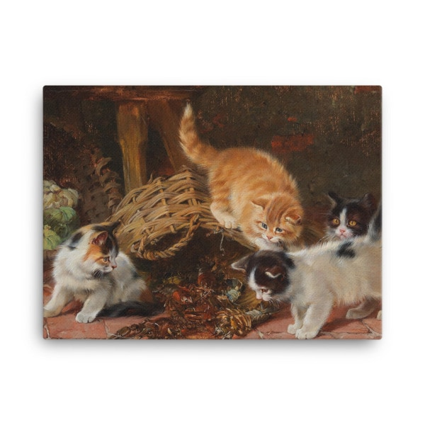 Julius Adam: Kittens and a Lobster, Before 1913, Canvas Cat Art Print, 24×36