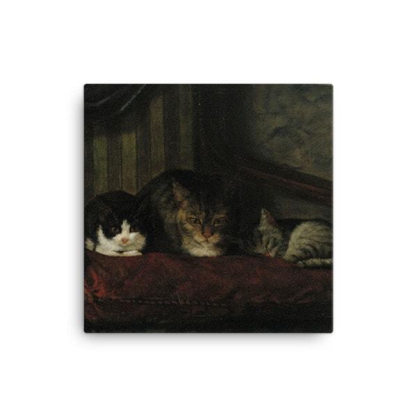 Adolf Von Becker: Cats in a Chair, 1863, Canvas Cat Art Print, 16×16