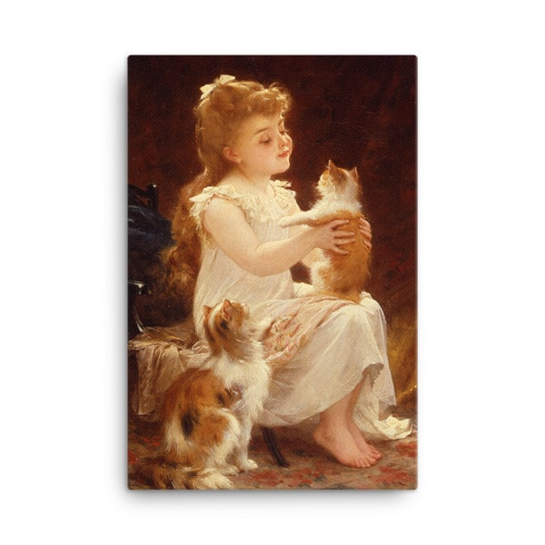 Emile Munier: Playing with the Kitten, 1893, Canvas Cat Art Print, 24×36