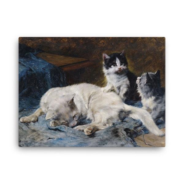 Julius Adam: Katzenmutter mit Zwei Katzchen, 1913, Canvas Cat Art Print,, 24×36
