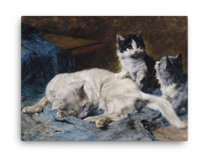 Julius Adam: Katzenmutter mit Zwei Katzchen, 1913, Canvas Cat Art Print at The Great Cat Store