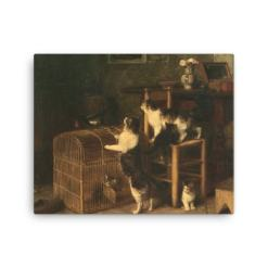 Louis Eugene Lambert: Invasion, 19th century, Canvas Cat Art Print
