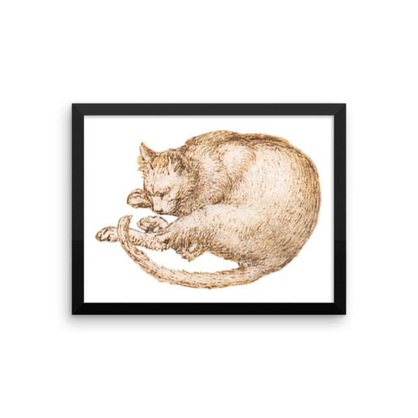 Leonardo da Vinci: Drawing of a Cat, 15th Century, Framed Cat Art Poster, 12×16