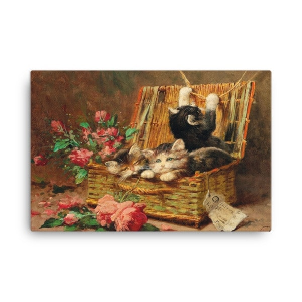 Leon Charles Huber: A Basket of Cats, Before 1928, Canvas Cat Art Print, 18×24