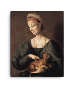 Francesco Bacchiacca: Woman with a Cat, 1540's canvas cat art print at The Great Cat Store
