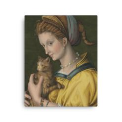 Francesco Bacchiacca: Portrait of a Young Lady Holding a Cat, 1525-30, canvas cat art print