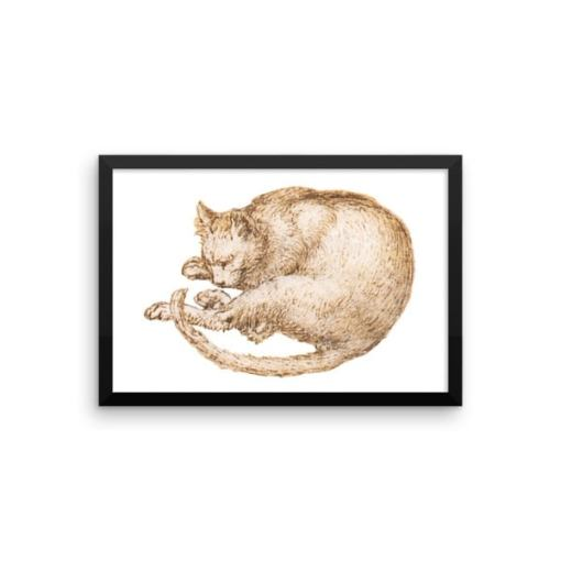 Leonardo da Vinci: Drawing of a Cat, 15th Century, Framed Cat Art Poster