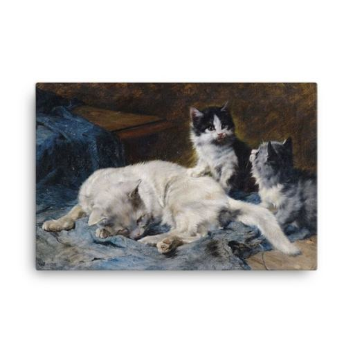 Julius Adam: Katzenmutter mit Zwei Katzchen, 1913, Canvas Cat Art Print, The Great Cat Store