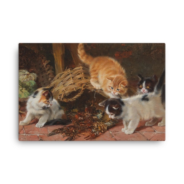 Julius Adam: Kittens and a Lobster, Before 1913, Canvas Cat Art Print, 18×24