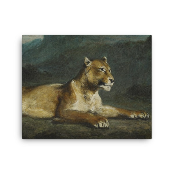 Eugene Delacroix: Lioness Reclining, 1855, Canvas Cat Art Print, 16×20