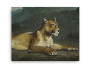 Eugene Delacroix: Lioness Reclining, 1855, Canvas Cat Art Print