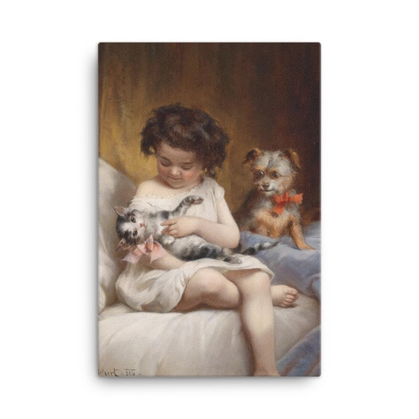 Carl Reichert: Little Girl Playing with Kitten, 1886, Canvas Cat Art Print, 24×36