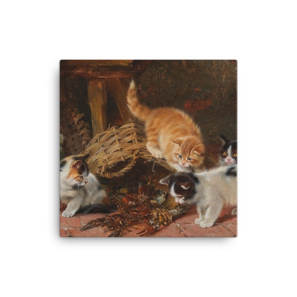Julius Adam: Kittens and a Lobster, Before 1913, Canvas Cat Art Print, 12×12