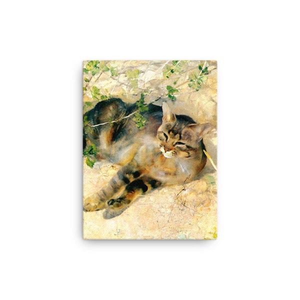 Bruno Liljefors: Sleeping Jeppe, 1886, Canvas Cat Art Print, 12×16