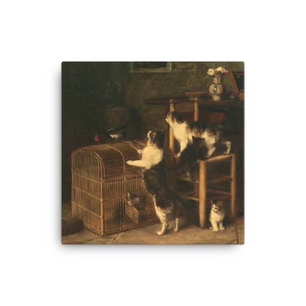 Louis Eugene Lambert: Invasion, 19th century, Canvas Cat Art Print, 16×16