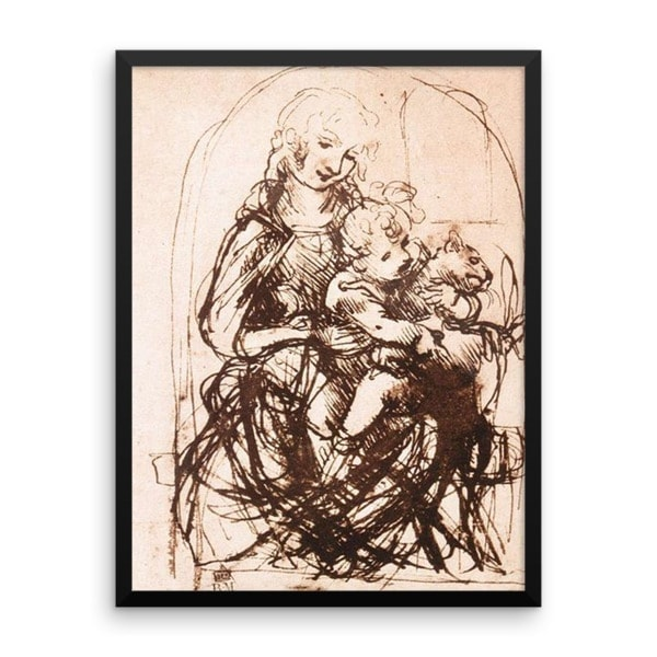 Leonardo da Vinci: Study of the Madonna and Child with a Cat, 1478, Framed Cat Art Poster, 24×36