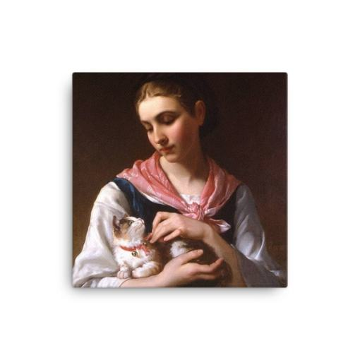 Emile Munier: The Favourite Kitten, 1874, Canvas Cat Art Print