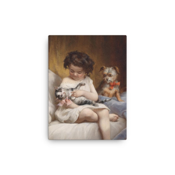 Carl Reichert: Little Girl Playing with Kitten, 1886, Canvas Cat Art Print, 12×16
