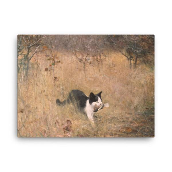 Bruno Liljefors: Cat Hunting, 1883, Canvas Cat Art Print, 18×24