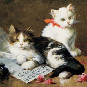 A Young Feline Author, Leon Charles Huber, The Great Cat Store, Cat Art Prints-Posters by Subject-Theme