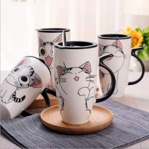 Cute Large Cat Ceramic Coffee Mug With Lid