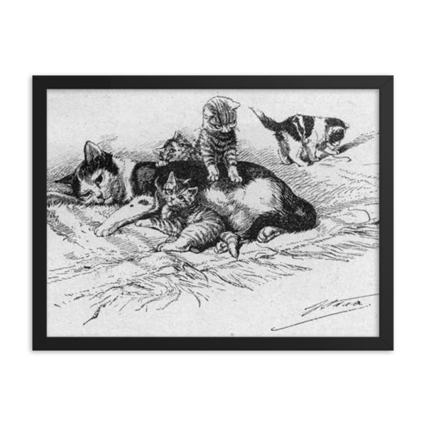 German Illustration of Cat and Kittens, 1889, Framed Cat Art Poster, 16×20