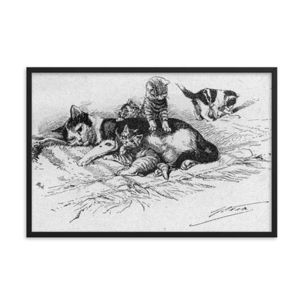 German Illustration of Cat and Kittens, 1889, Framed Cat Art Poster, 24×36