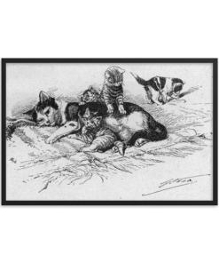 German Illustration of Cat and Kittens, 1889, Framed Cat Art Poster, cat and kittens