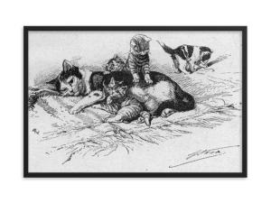 German Illustration of Cat and Kittens, 1889, Framed Cat Art Poster, cat and kittens