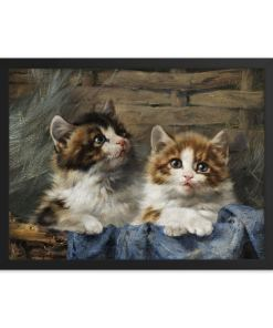 Julius Adam: Two Kittens, 1913, Framed Cat Art Poster