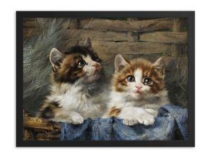 Julius Adam: Two Kittens, 1913, Framed Cat Art Poster