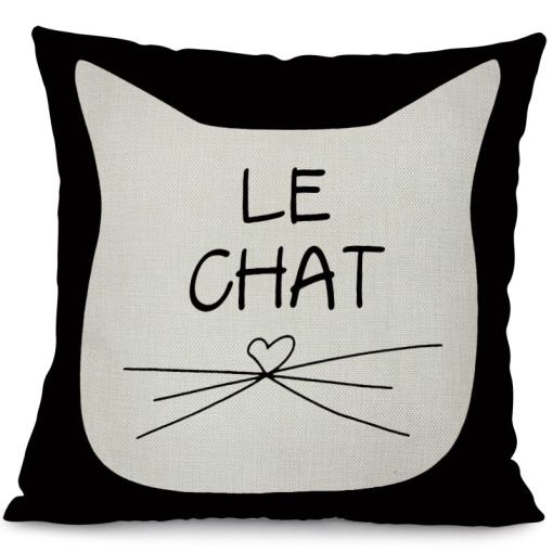 Black Cat Cotton Linen Decorative Pillow Cushion Cover