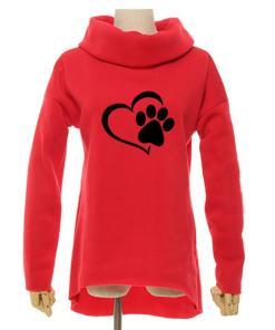 Women's Cowl Neck Cat Paw and Heart Sweatshirt