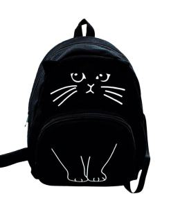 Lovely Canvas Cat Backpack School Bag