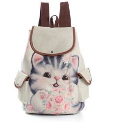 Casual Canvas Cat Print Kids School Backpack