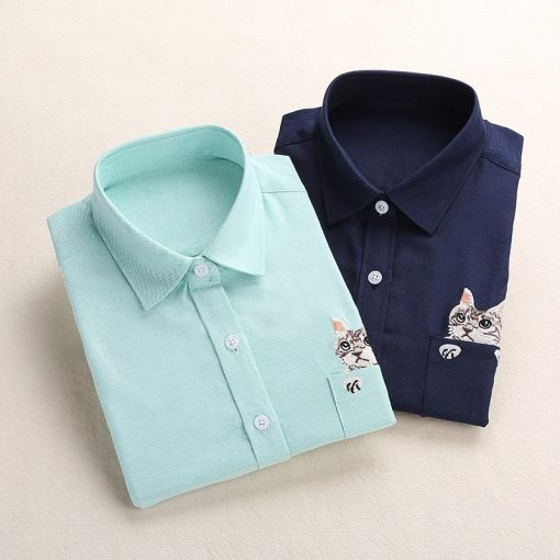 Cat Embroidered Pocket Ladies' Oxford Blouse