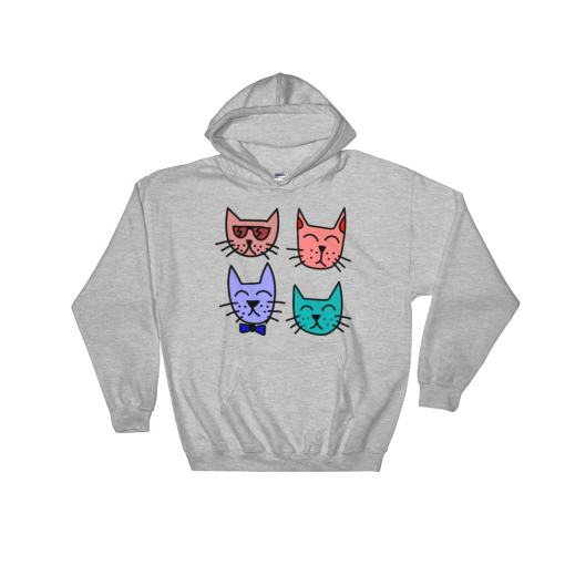 Cool Cat Unisex Hooded Sweatshirt at The Great Cat Store