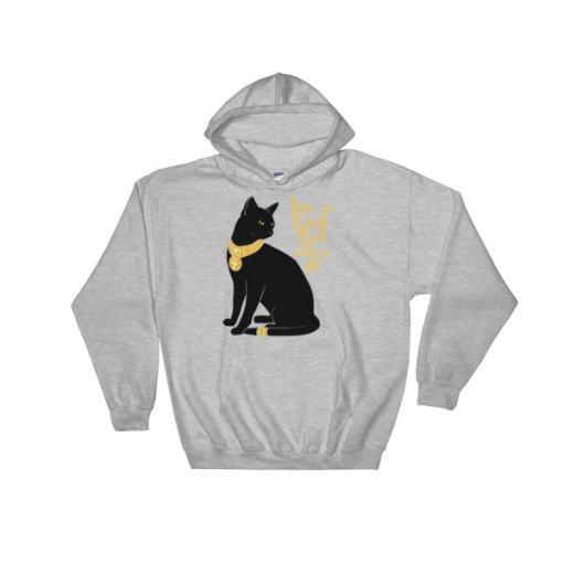 Cat-I'm a God. Get Over It Hooded Sweatshirt, SPORT GREY
