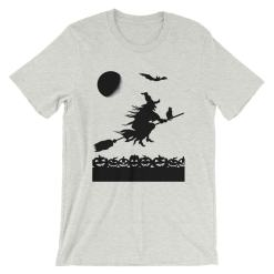 Witch and Black Cat Halloween Short-Sleeve Unisex T-Shirt at The Great Cat Store