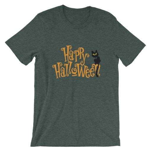Happy Halloween-Black Cat, Short-Sleeve Unisex T-Shirt at The Great Cat Store