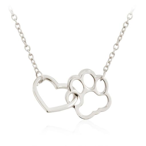 Cat Paw Heart Linked Necklace