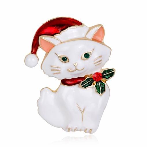 Cute Christmas Cat Brooch Pin at the great cat store
