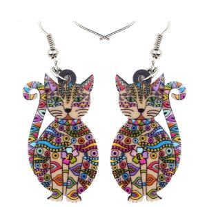 Multicolored Floral Cat Kitten Shaped Drop Earrings