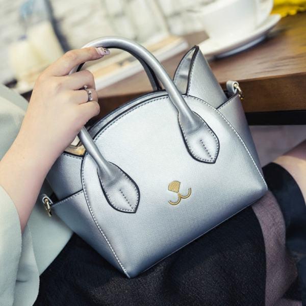 Cat Design Women's Leather Top Handle Handbag Purse