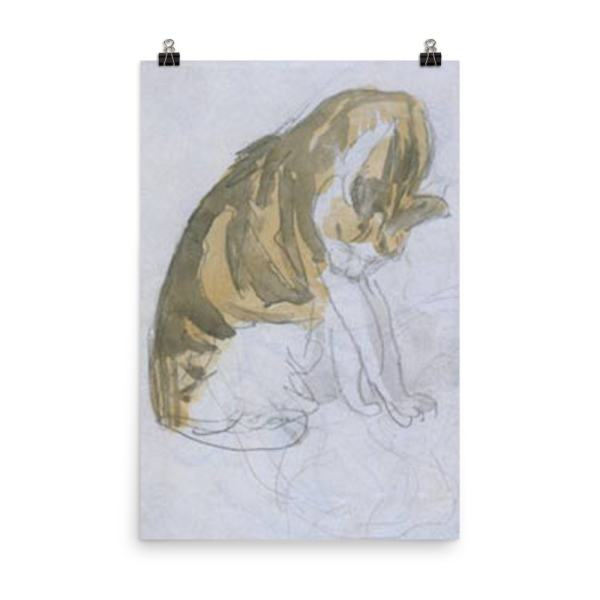 Gwen John: Cat Cleaning Itself, 20th Century, Poster 24×36