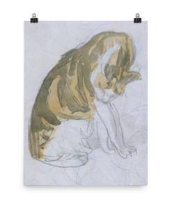 Gwen John: Cat Cleaning Itself, 20th Century, Poster 18x24