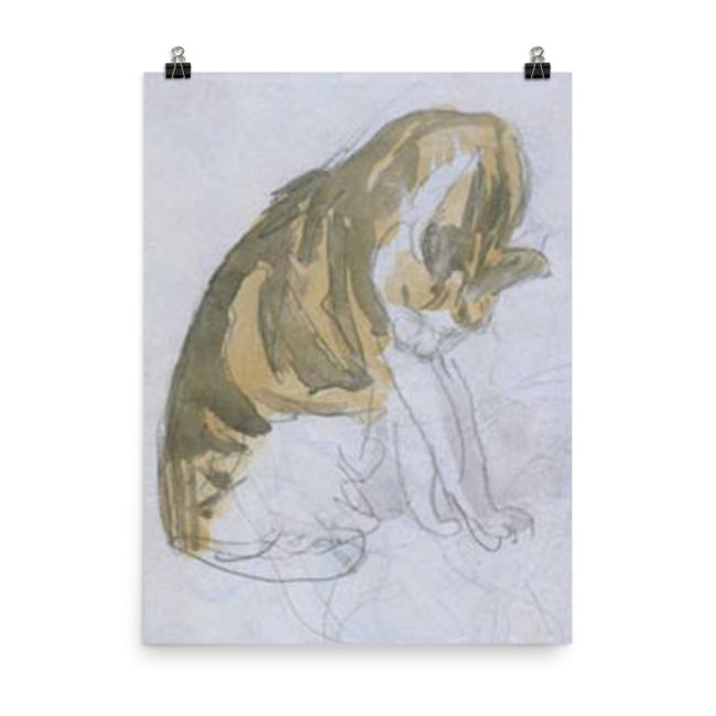 Gwen John: Cat Cleaning Itself, 20th Century, Poster 18x24