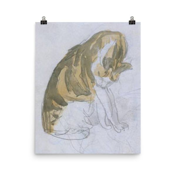 Gwen John: Cat Cleaning Itself, 20th Century, Poster 16×20